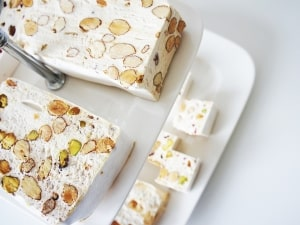 White nougat with pistachios